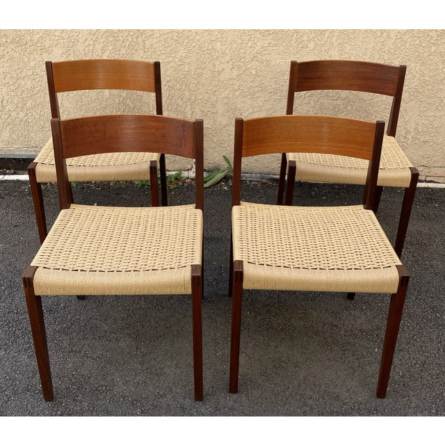 Set of 4 Danish Teak Cord Seat Dining Chairs For Sale - Image 12 of 12