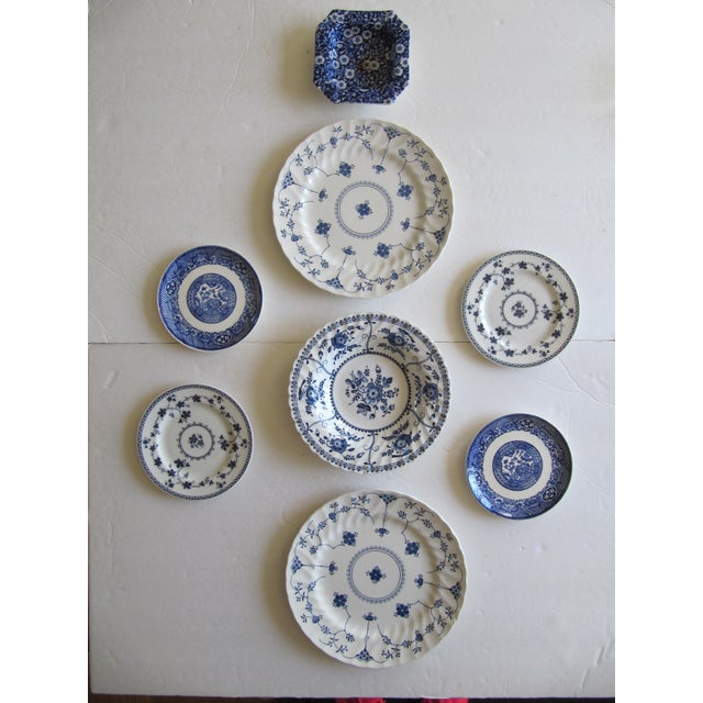 Asian Blue & White Transfer-Ware Plates- 8 Pieces For Sale - Image 3 of 6