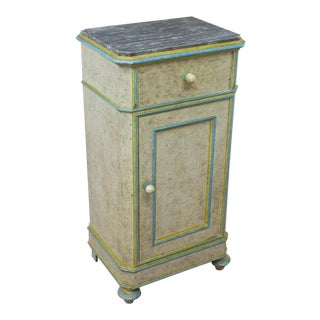Early 20th Century Italian Painted Marble Top Bedside Cabinet For Sale