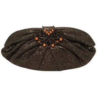 Judith Leiber Black and Gold Woven Pearl Embellished Clutch For Sale