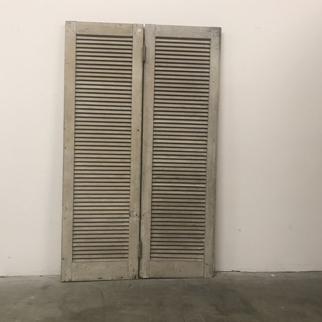 Mid 19th Century Vintage Wood Louvered Shutters- A Pair For Sale - Image 4 of 4