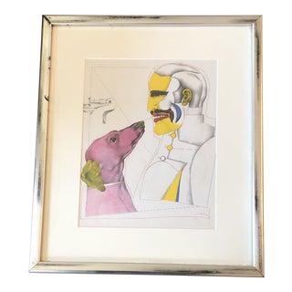 Richard Lindner 1960's Surrealist Lithograph Man & Dog Signed Framed For Sale