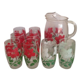 Vintage Pitcher & Tumblers - Set of 9