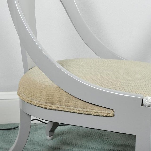 Custom Contemporary Grey Arched Chairs - Pair - Image 5 of 8