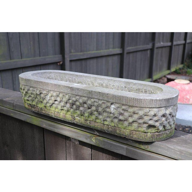 1940s Hand-Carved Bluestone Oval Planter For Sale - Image 5 of 6