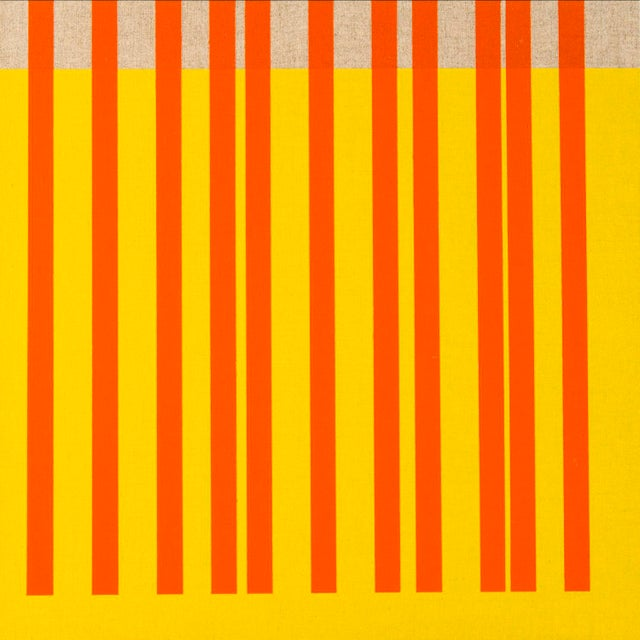 This contemporary abstract painting by American artist Brandon Woods features vertical orange stripes on a bright,...