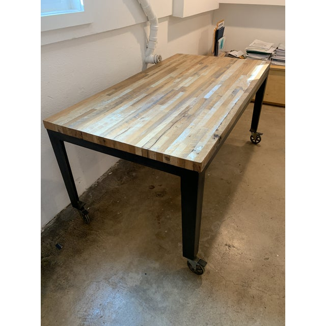 Industrial Reclaimed Wood and Metal Writing Table For Sale - Image 9 of 11
