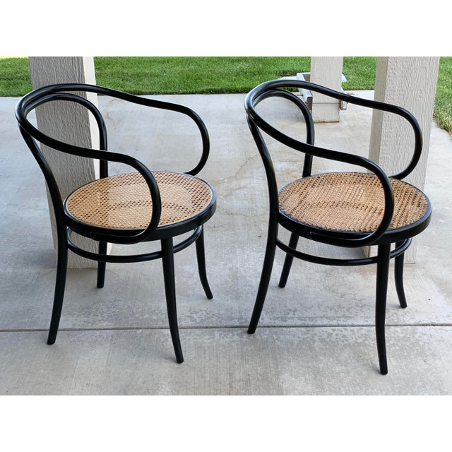 Original Stednig-Thonet bentwood chairs in black. They are in beautiful condition with the Stednig label underr the seat....