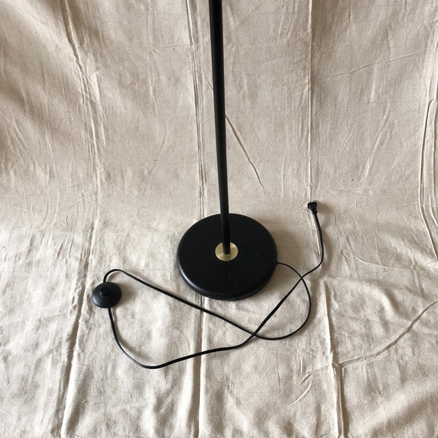 Black Mid-Century Style Articulated Arm Brass and Black Floor Lamp For Sale - Image 8 of 9