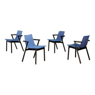 Cassina Post-Modern Blue & Black Lacquered Wood Chairs 1980s - Set of 4 For Sale