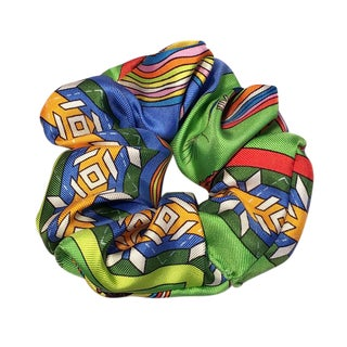 Hermes Handmade Belles Du Mexique Silk Scarf Scrunchie in Green Blue and Yellow For Sale