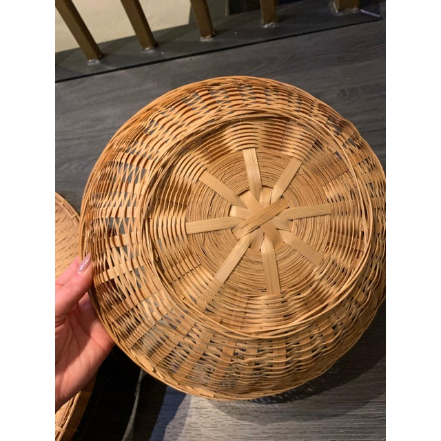 Mid 20th Century Vintage Boho Chic Rattan Basket Trio Collage - Set of 3 For Sale - Image 4 of 5