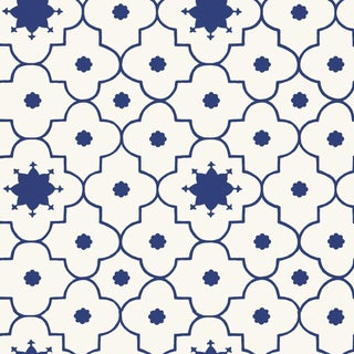 Schumacher X Martyn Lawrence Bullard Taj Trellis Wallpaper in Jaipur Blue For Sale