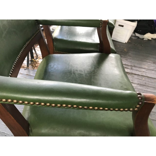 1960's Mid-Century Modern Paoli Green Leather Studded Chairs - Set of 3 For Sale - Image 6 of 12