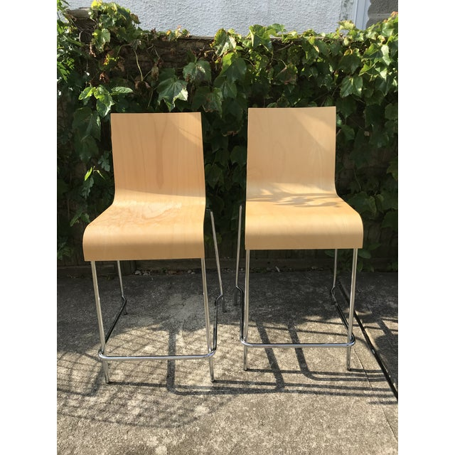 Wood Modern Wooden Stools - a Pair For Sale - Image 7 of 7