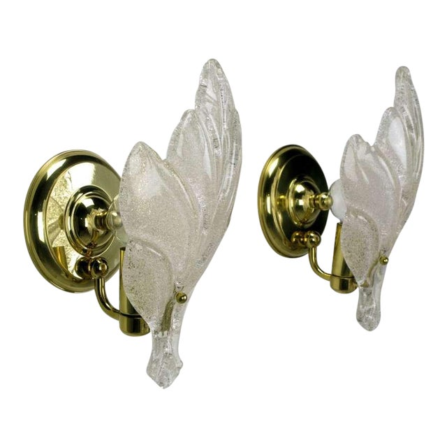 Pair Murano Glass Maple Leaf Wall Sconces - Image 1 of 5