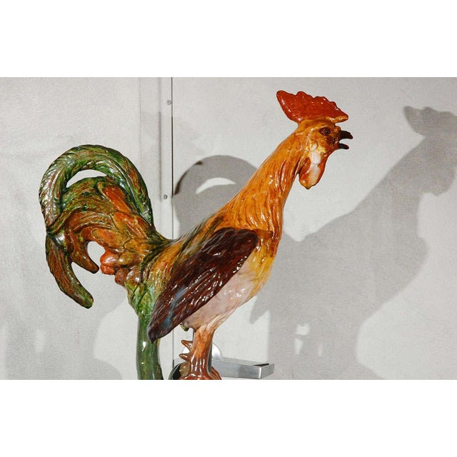 Large Terracotta Rooster Figure from Flanders For Sale - Image 10 of 11