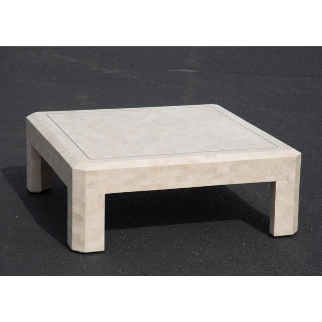 1980s Hollywood Regency Maitland Smith Ivory Stone Coffee Table For Sale In Philadelphia - Image 6 of 7