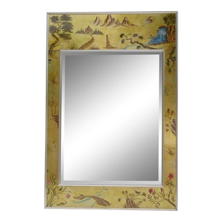 Vintage LaBarge Eglomise' Reverse-Painted, Chinoiserie Gold Leaf & Chrome Trimmed Rectangular Mirror For Sale