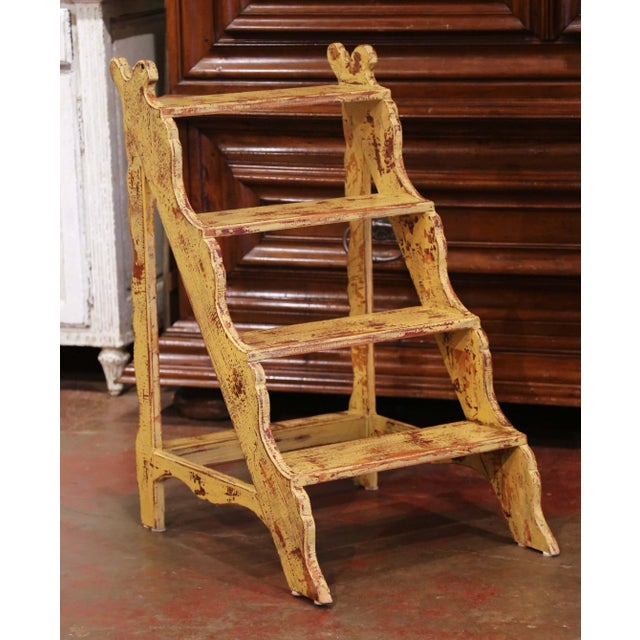 French Country Mid-Century French Country Carved and Painted Pine Library Step Ladder For Sale - Image 3 of 13
