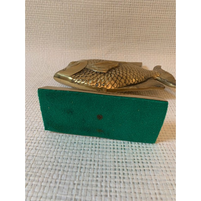 Mid 20th Century Vintage Brass Rainbow Fish Sculpture on Stand For Sale - Image 5 of 6