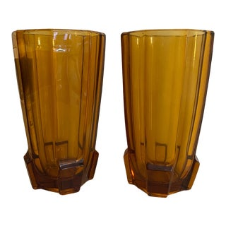 Vintage Amber Glass Vases - a Pair For Sale