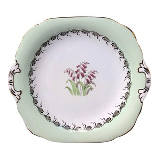 Early 20th Century Antique English Floral Cake Plate Catchall Dish For Sale