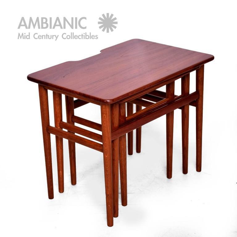 Danish Modern Teak Nesting Tables Set Of Three   Image 6 Of 10