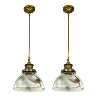Large Holophane Glass & Brass Pendants - a Pair For Sale