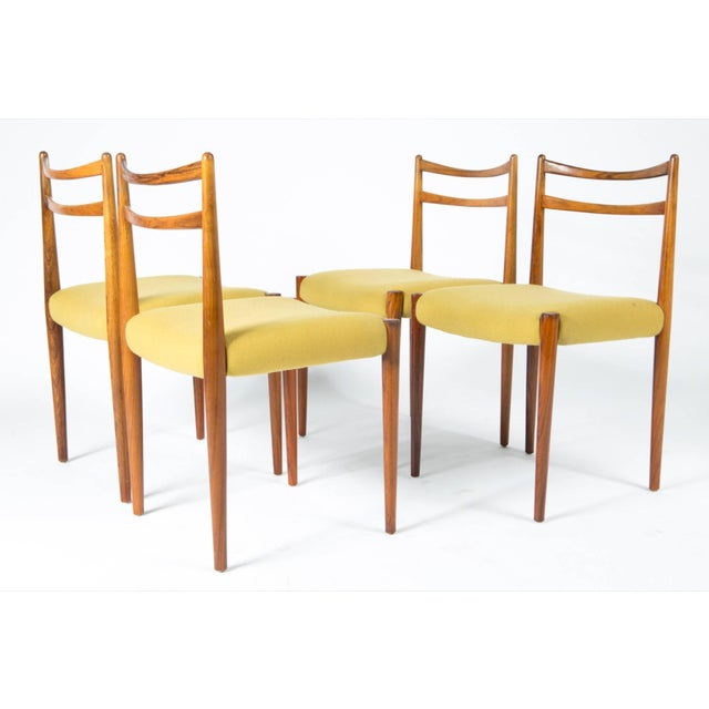1960s Yellow Fabric Rosewood Danish Modern Chairs- Set of 4 For Sale - Image 12 of 12