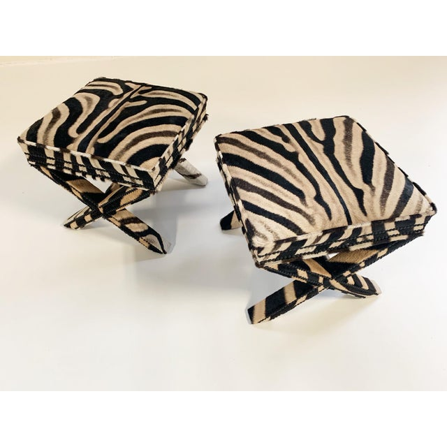 Hollywood Regency Billy Baldwin Style X Benches Restored in Zebra Hide - a Pair For Sale - Image 3 of 10