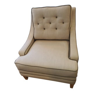 Taupe Linen Fabric Brown Leather Piping Chair For Sale