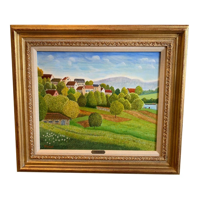 """1970s Andre Bouquet Painting """"Village De l'Ite Au France"""" For Sale"""