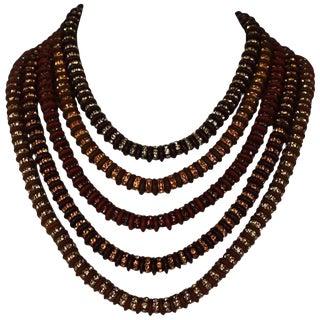 Francoise Montague Five Strand Brown Swarovski Crystal Rondelle Necklace For Sale