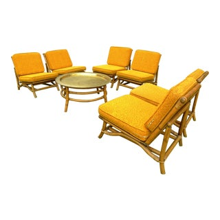 Vintage Mid-Century Slipper Chairs & Matching Brass Table Set - 7 Pc.