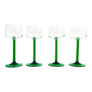 Vintage Green Stemmed Luminarc Champagne Glasses - Set of 4 For Sale