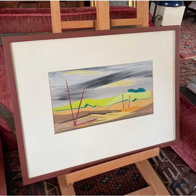 "1950s ""Mac Le Sueur"" Landscape Gouache Painting, Framed For Sale In Minneapolis - Image 6 of 9"