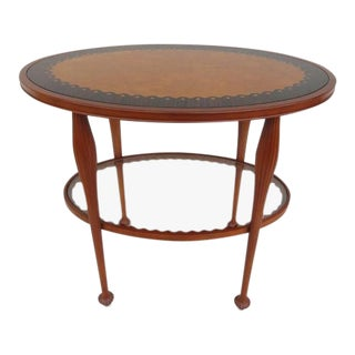 20th Century French Regency Jaques Grange for John Widdicomb Two Tiered Oval Inlaid Table For Sale