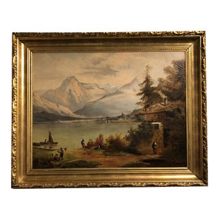 19th Century Landscape Oil Painting of a Fishing Village in a Gilded Frame. Signed: Lynn Deming Hoskins For Sale
