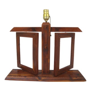 Rustic Cedar Wood Lamp With Picture Frames For Sale