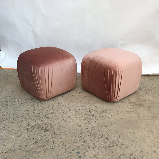Pair of vintage poufs in style of Karl Springer in a shimmering rose quartz silk velvet. The color is amazing and...
