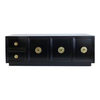 Hollywood Regency Ebonized Credenza with Coin Pulls