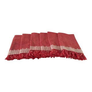 20th Century Americana Red and White Fringe Napkins - Set of 6 For Sale