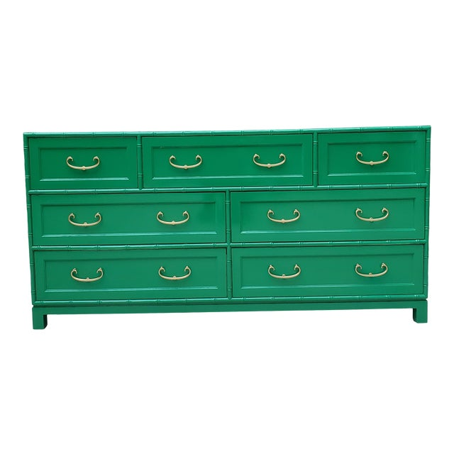 1970s Regency Bamboo Green Lacquer Dresser For Sale