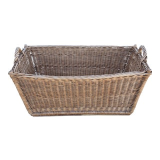 Early 1900s French Willow/Wicker Market Gathering Basket W/ Handles For Sale