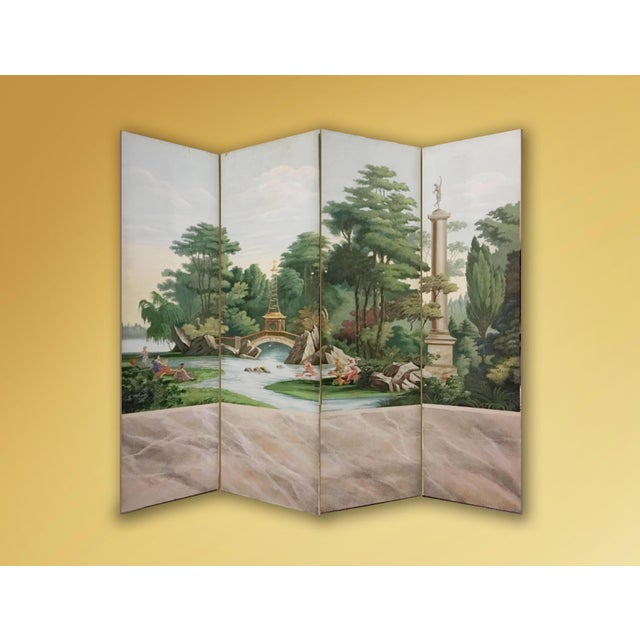 Hand Painted Vintage French Scenic 4 Panel Screen For Sale - Image 4 of 4