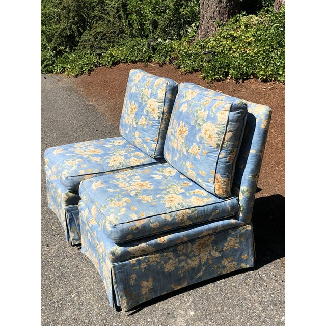 Asian Vintage Pennsylvania House Skirtted Floral Chinosire Slipper Chairs- A Pair For Sale - Image 3 of 12