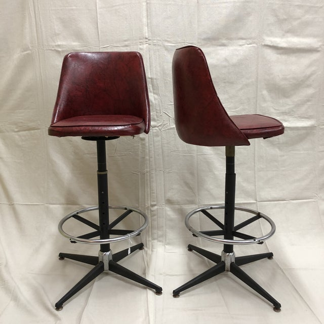 Mid-Century Cosco Swivel Bar Stools - A Pair - Image 3 of 11