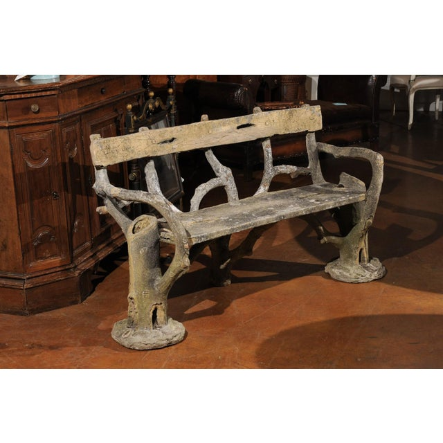Mid 19th Century French Late 19th Century Faux-Bois Concrete Bench with Vases Flanking the Sides For Sale - Image 5 of 13
