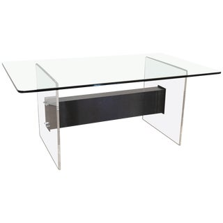 Lucite, Glass and Steel Dining Table or Desk For Sale